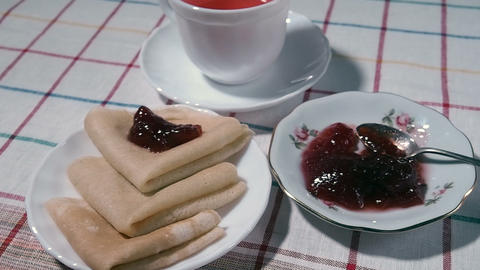 the plate of pancakes and jam Footage