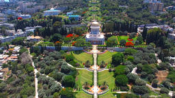 Aerial photo of the Bahai temple and gardens in Haifa, Israel Footage