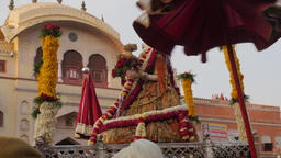 Parvati idol is carried in procession,Jaipur,Gangaur,India Footage