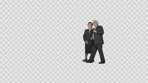 Intelligent elderly married couple is slowly walking, looking at attractions Live Action