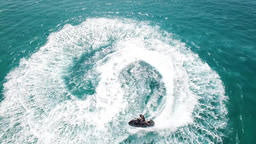 Jet skiing in open waters - Aerial footage Footage