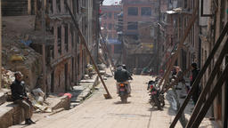 Street with damaged buildings after earthquake,Bhaktapur,Nepal Footage