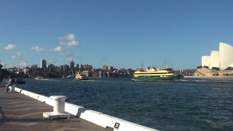 SYDNEY/AUSTRALIA - MAR 24 2016: Panoramic of Sydney Harbour. Float Several Ships Footage