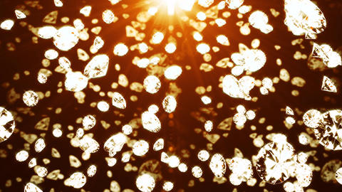 Crystals fall on an orange background. Background for advertising. 3d render Live Action