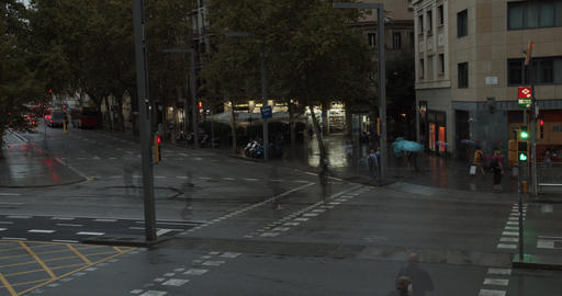 Barcelona, Spain - October 20, 2019: A traffic light for people. People crossing Footage