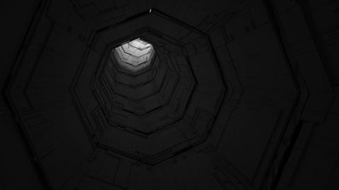 Grayscale endless tunnel with a light at the end Animation