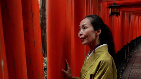 Elegant Japanese woman walking along a path lined with Torii Gates Footage