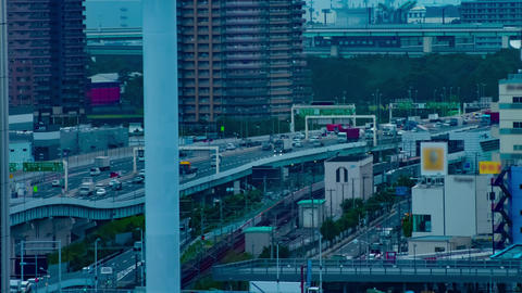 A timelapse of city street at the urban town in Ariake Tokyo daytime long shot Live Action