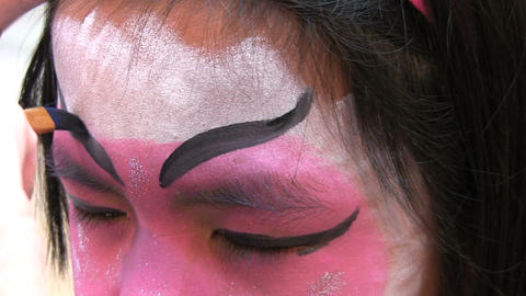 Japanese Face Painting Eyebrows Footage