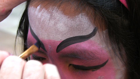 Japanese Face Painting Eyebrows Stock Video Footage