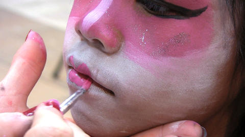 Japanese Face Painting Lips Stock Video Footage