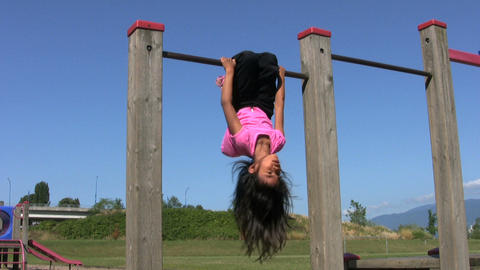 Little Girl On Monkey Bar Footage