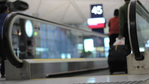 People Stepping Onto The People Mover At Airport Stock Video Footage