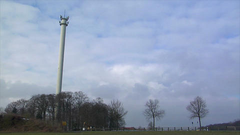 controlled demolition radio tower 10867 Stock Video Footage