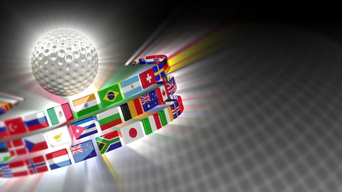Golf Ball with International Flags 50 (HD) Stock Video Footage