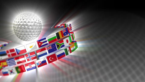Golf Ball With International Flags 50 (HD) stock footage