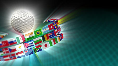 Golf Ball with International Flags 52 (HD) Stock Video Footage