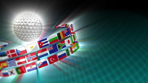 Golf Ball with International Flags 52 (HD) Animation