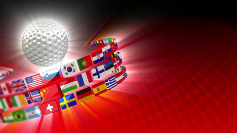 Golf Ball with International Flags 54 (HD) Stock Video Footage
