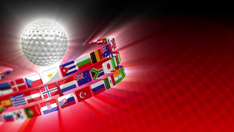 Golf Ball with International Flags 54 (HD) Animation
