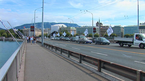 Geneve: Mont Blanc bridge Stock Video Footage