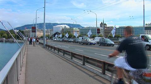 Geneve: Mont Blanc bridge Stock Video Footage
