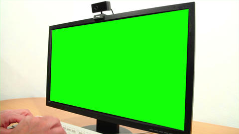 Green screen monitor and keyboard Footage