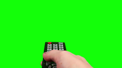 Surfing television channels green screen Stock Video Footage