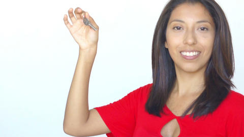 Woman holding a key Stock Video Footage