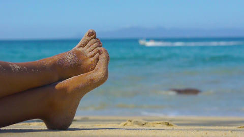 Bare feet at the beach Stock Video Footage
