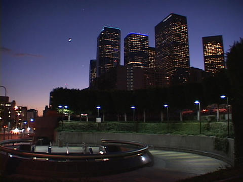 Downtown Los Angeles offices light up as night approaches Stock Video Footage