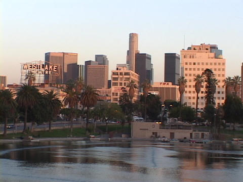Echo Park sits near downtown Los Angeles Stock Video Footage