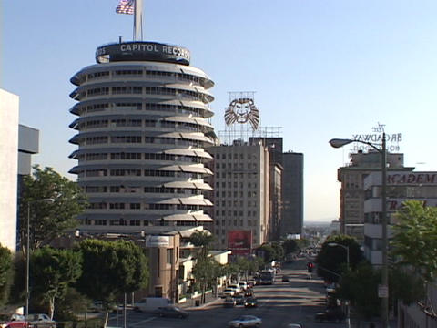 Capitol Records offices dominate the skyline in downtown... Stock Video Footage