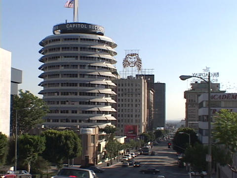 Capitol Records offices dominate the skyline in downtown Hollywood Footage