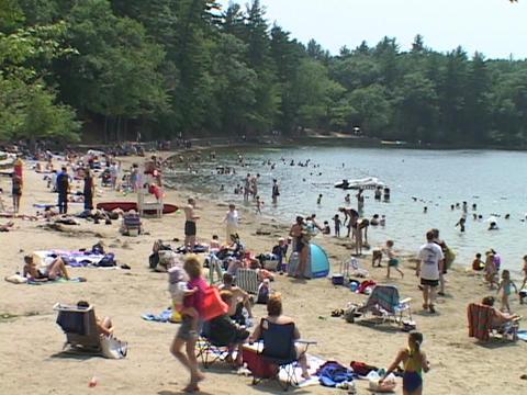 People walk around Walden ponds beach Stock Video Footage