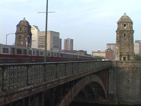 A train runs on a bridge over Charles River Stock Video Footage