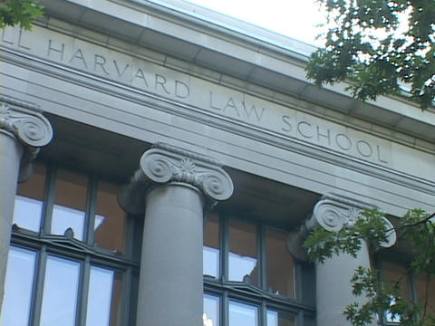 Columns decorate the Harvard Law School building Footage