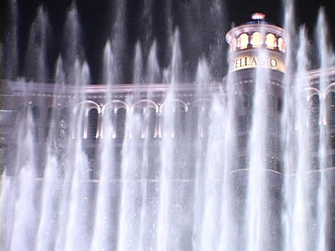 Fountains spray in front of the Bellagio-Hotel and Casino... Stock Video Footage