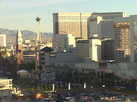 Hotels and casinos rise on the Las Vegas strip Footage
