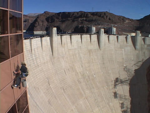 A window washer works at the Hoover Dam Stock Video Footage
