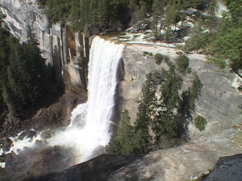 Vernal Falls in Yosemite National Park spills over its... Stock Video Footage