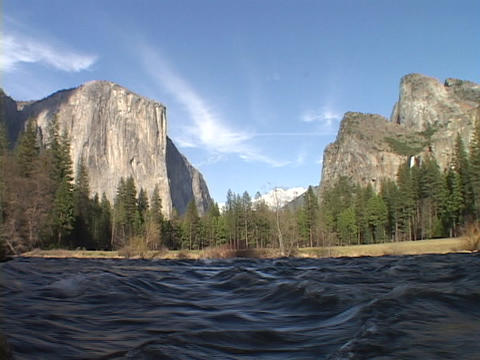 A river flows through Yosemite National Park Footage