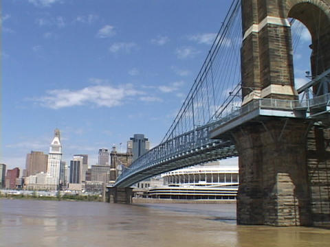 A bridge spans a river in Cincinnati Stock Video Footage