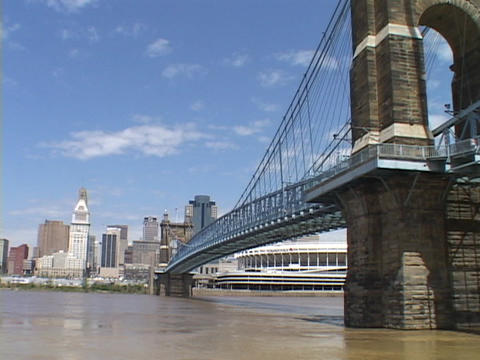 A bridge spans a river in Cincinnati Footage