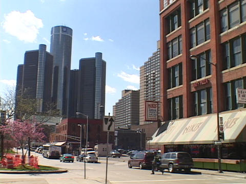 Downtown skyscrapers rise in the Detroit skyline Stock Video Footage