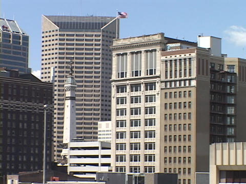 Office buildings rise in Downtown Indianapolis Stock Video Footage