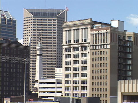 Office buildings rise in Downtown Indianapolis Footage