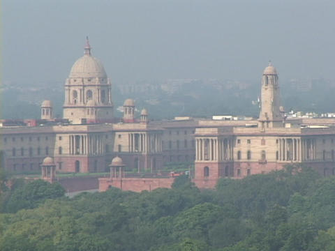 The Indian Parliament building stands in New Delhi, India Stock Video Footage