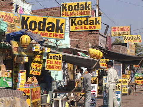 Signs advertise Kodak photo film Stock Video Footage