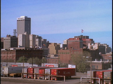 Freight boxes sit outside downtown Omaha, Nebraska Footage